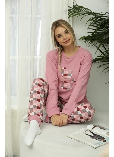 Aydoğan Kadın Termal Kareli  Pijama Takımı Renkli